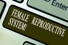 Handwriting text writing Female Reproductive System. Concept meaning responsible in reproduction of new offspring. Keyboard key Intention to create computer stock images