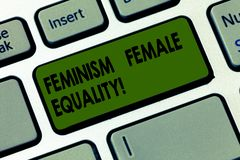 Handwriting text writing Feminism Female Equality. Concept meaning advocacy of women s is rights on equality of sexes royalty free stock image