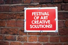 Handwriting text writing Festival Of Art Creative Solutions. Concept meaning Creativity innovative ideas inventions. Handwriting text writing Festival Of Art stock image