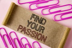 Handwriting text writing Find Your Passion. Concept meaning No more unemployment find challenging dream career written on Folded C Royalty Free Stock Photo