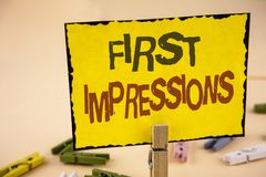 Handwriting text writing First Impressions. Concept meaning Encounter presentation performance job interview courtship written on. Handwriting text writing First Royalty Free Stock Photography