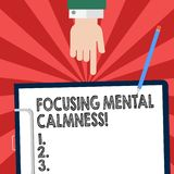 Handwriting text writing Focusing Mental Calmness. Concept meaning free the mind from agitation or any disturbance Hu analysis. Hand Pointing Down to Clipboard stock illustration