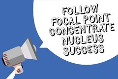 Handwriting text writing Follow Focal Point Concentrate Nucleus Success. Concept meaning Concentration look for target Man holding. Megaphone loudspeaker speech stock illustration