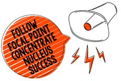 Handwriting text writing Follow Focal Point Concentrate Nucleus Success. Concept meaning Concentration look for target Megaphone l. Oudspeaker orange speech vector illustration