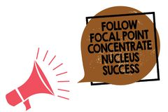 Handwriting text writing Follow Focal Point Concentrate Nucleus Success. Concept meaning Concentration look for target Megaphone l. Oudspeaker speaking loud royalty free illustration