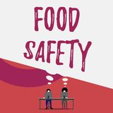 Handwriting text writing Food Safety. Concept meaning conditions and practices that preserve the quality of food Two men