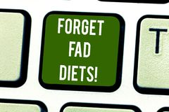 Handwriting text writing Forget Fad Diets. Concept meaning drop pounds due unhealthy calorie reduction or water loss. Keyboard key Intention to create computer stock image