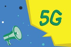 Handwriting text writing 5G. Concept meaning Next generation of mobile networks after the 4G LTE Fast speed connection.  royalty free illustration