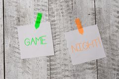 Handwriting text writing Game Night. Concept meaning usually its called on adult play dates like poker with friends. Handwriting text writing Game Night royalty free stock photos