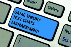 Handwriting text writing Game Theory Social Media Management. Concept meaning Gaming innovation marketing strategies. Keyboard key Intention to create computer royalty free stock photography