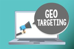 Handwriting text writing Geo Targeting. Concept meaning Digital Ads Views IP Address Adwords Campaigns Location Man holding megaph. One loudspeaker speech bubble stock photo