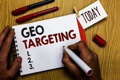 Handwriting text writing Geo Targeting. Concept meaning Digital Ads Views IP Address Adwords Campaigns Location Man holding marker. Notebook clothespin reminder stock photography