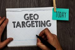 Handwriting text writing Geo Targeting. Concept meaning Digital Ads Views IP Address Adwords Campaigns Location Open notebook clot. Hespin holding reminder royalty free stock images