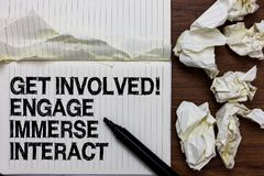 Handwriting text writing Get Involved Engage Immerse Interact. Concept meaning Join Connect Participate in the project Marker over royalty free stock images