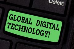 Handwriting text writing Global Digital Technology. Concept meaning Digitized information in the form of numeric code. Keyboard key Intention to create computer royalty free stock photos
