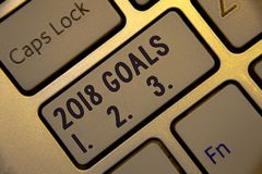 Handwriting text writing 2018 Goals 1. 2. 3.. Concept meaning Resolution Organize Beginnings Future Plans Golden keyboard with jet. Gray button presents black royalty free stock images