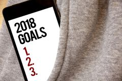 Handwriting text writing 2018 Goals 1. 2. 3.. Concept meaning Resolution Organize Beginnings Future Plans Hoar frost color side po. Cket cell phone be visible stock photos