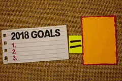Handwriting text writing 2018 Goals 1. 2. 3.. Concept meaning Resolution Organize Beginnings Future Plans Jute sack deck white pag. E show words red lend yellow royalty free stock photography