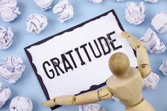 Handwriting text writing Gratitude. Concept meaning Quality of being thankful Appreciation Thankfulness Acknowledge written on Sti. Handwriting text writing Royalty Free Stock Photo