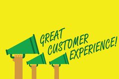 Handwriting text writing Great Customer Experience. Concept meaning responding to clients with friendly helpful way Hands holding. Megaphones loudspeakers royalty free illustration