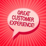 Handwriting text writing Great Customer Experience. Concept meaning responding to clients with friendly helpful way Pink speech bu. Bble message reminder rays stock illustration