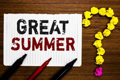 Handwriting text writing Great Summer. Concept meaning Having Fun Good Sunshine Going to the beach Enjoying outdoor Paper markers. Crumpled papers forming stock photo