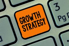 Handwriting text writing Growth Strategy. Concept meaning Strategy aimed at winning larger market share in shortterm.  royalty free stock photography