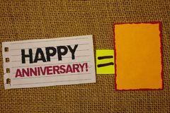 Handwriting text writing Happy Anniversary Motivational Call. Concept meaning Annual Special Milestone Commemoration Jute sack dec. K white page show words red stock photography