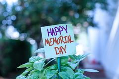 Handwriting text writing Happy Memorial Day. Concept meaning Honoring Remembering those who died in military service