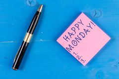 Handwriting text writing Happy Monday. Concept meaning telling that demonstrating order to wish him great new week. Handwriting text writing Happy Monday stock images