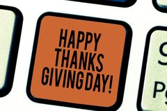 Handwriting text writing Happy Thanks Giving Day. Concept meaning Celebrating thankfulness gratitude holiday Keyboard. Key Intention to create computer message royalty free stock photos
