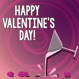 Handwriting text writing Happy Valentine S Is Day. Concept meaning when lovers express their affection with greetings. Cocktail Wine Glass Pouring Liquid with stock illustration