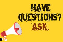 Handwriting text writing Have Questions question Ask.. Concept meaning asking someone respond you with feedback Multiline text not. Ice board recall reassure Royalty Free Stock Image