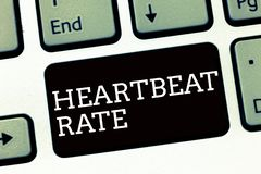 Handwriting text writing Heartbeat Rate. Concept meaning measured by number of times the heart contracts per minute royalty free stock photos