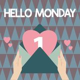 Handwriting text writing Hello Monday. Concept meaning Greeting Positive Message for a new day Week Starting stock photo