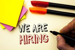 Handwriting text writing We Are Hiring. Concept meaning Talent Hunting Job Position Wanted Workforce HR Recruitment written by Mar. Ker the plain background Pen Stock Photos