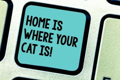 Handwriting text writing Home Is Where Your Cat Is. Concept meaning Kitten lovers feline protection cute animals. Keyboard key Intention to create computer royalty free stock photos