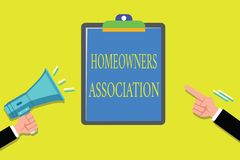 Handwriting text writing Homeowners Association. Concept meaning Organization with fee for upkeeps of Gated Community.  royalty free illustration