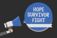 Handwriting text writing Hope Survivor Fight. Concept meaning stand against your illness be fighter stick to dreams Multiline text. Script artwork make Stock Images