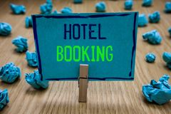 Handwriting text writing Hotel Booking. Concept meaning Online Reservations Presidential Suite De Luxe Hospitality. Clothespin holding blue paper note crumpled stock images