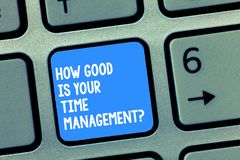 Handwriting text writing How Good Is Your Time Managementquestion. Concept meaning Managing deadlines timing Keyboard. Key Intention to create computer message royalty free stock photos