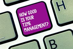 Handwriting text writing How Good Is Your Time Managementquestion. Concept meaning Managing deadlines timing Keyboard. Key Intention to create computer message royalty free stock photo