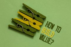 Handwriting text writing How To Build Value question. Concept meaning Ways for developing growing building a business Olive ground. Laid on paperclip in front stock photos