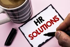 Handwriting text writing Hr Solutions. Concept meaning Recruitment Solution Consulting Management Solving Onboarding written by Ma. N Sticky Note paper holding Stock Photo