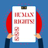 Handwriting text writing Huanalysis Rights. Concept meaning the equality of fighting for your rights individuality White. Handwriting text writing Huanalysis royalty free illustration
