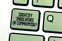 Handwriting text writing Identify Indicators Of Compromise. Concept meaning Detect malware online attacks hacking. Keyboard key Intention to create computer royalty free stock photography