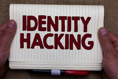 Handwriting text writing Identity Hacking. Concept meaning criminal that steal your personal information using malware stock images