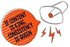 Handwriting text writing If Content Is King, Consistency Is Queen. Concept meaning Marketing strategies Persuasion Megaphone louds. Peaker orange speech bubble vector illustration