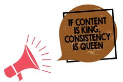 Handwriting text writing If Content Is King, Consistency Is Queen. Concept meaning Marketing strategies Persuasion Megaphone louds. Handwriting text writing If stock illustration
