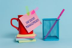 Handwriting text writing Incident Management. Concept meaning Process to return Service to Normal Correct Hazards Cup. Handwriting text writing Incident stock image